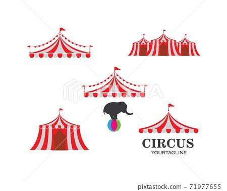 Circus tent logo template. Vector 71977655