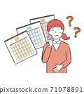 Women suffering from irregular menstruation 71978891