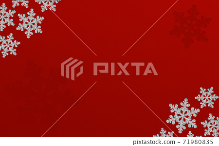 Winter Christmas ice crystals snowflake background red illustration 71980835