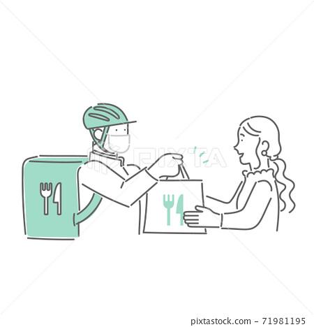 在送餐服務處接受食物的人 71981195