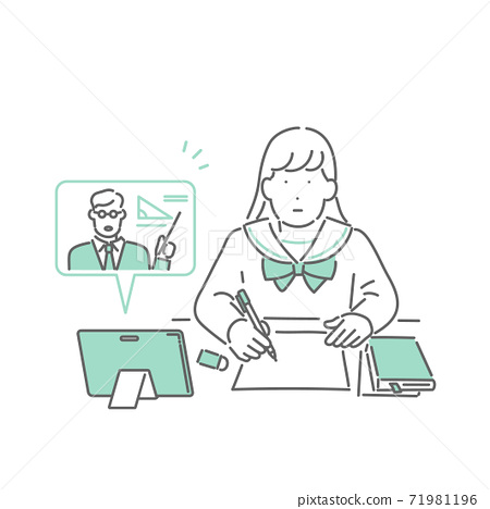 Illustration of a student taking an online class on a tablet 71981196