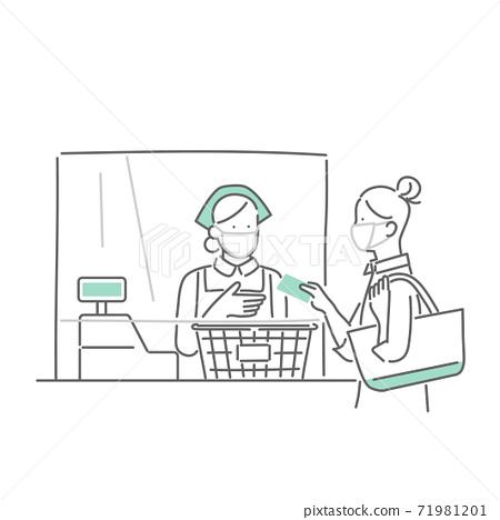 감염 대책 된 슈퍼에서 쇼핑하는 여성 71981201