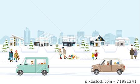 冬季城市景觀郊區住宅區,有汽車和人 71981241