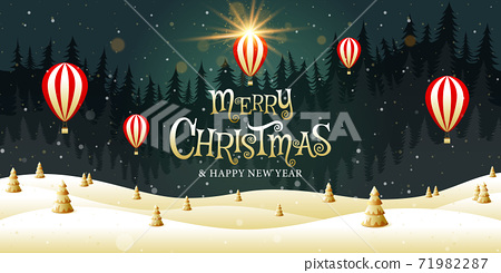 Merry Christmas, happy new year, calligraphy, Golden landscape fantasy , vector illustration. 71982287