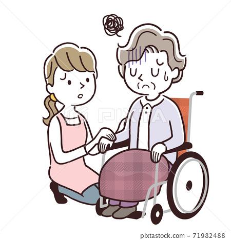 矢量圖材料:高級婦女和護理人員女人坐在輪椅上 71982488