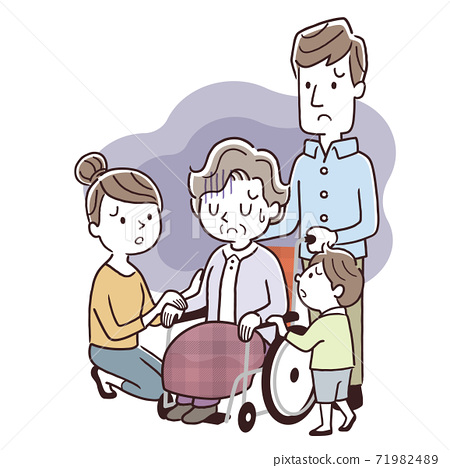 벡터 일러스트 소재 : 3 세대 가족, 간호, 우울 71982489