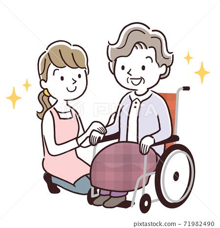 矢量圖材料:坐在輪椅上的高級婦女和護理人員依up 71982490