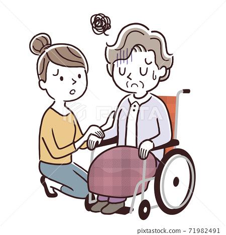 矢量圖材料:坐在輪椅上的女高管和年輕的女人,父母和孩子 71982491