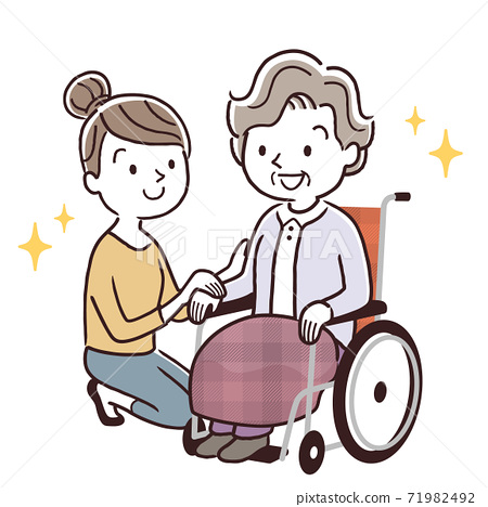 Vector illustration material: Senior woman in a wheelchair and young woman snuggling up, parent and child 71982492