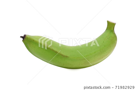Green banana isolated on white background 71982929