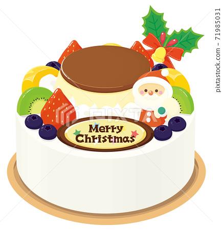 五顏六色的水果和布丁聖誕蛋糕 71985031