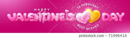 Happy Valentines Day Cute Lettering With Couple Of Hearts 71996418