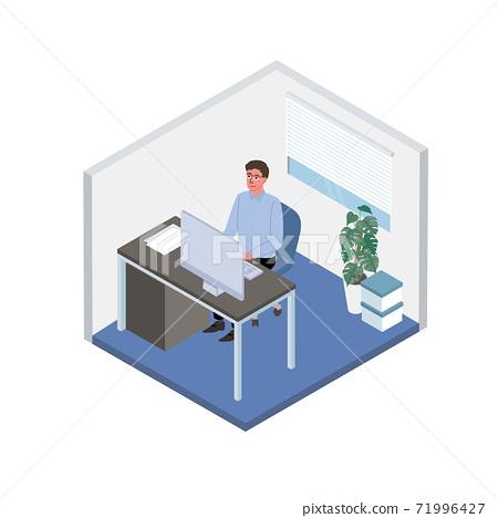 在辦公室里工作的男性PC等距圖 71996427