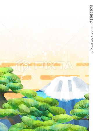 소나무와 후지산의 일러스트, 연하장 크기 71996972