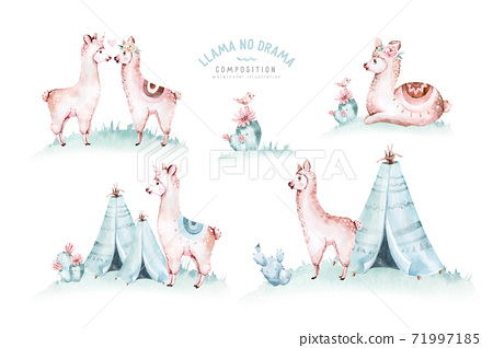 Cute watercolor llama, alpaca illustration isolated on white. Llama print ethnic blanket, flowers wreath, floral bouquet and boho mexican decoration 71997185