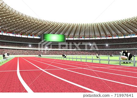 2021 년 (令和 3 년) 올림픽 개최 연도 것으로 육상 경기장을 모티브로 한 연하장 소재 71997641