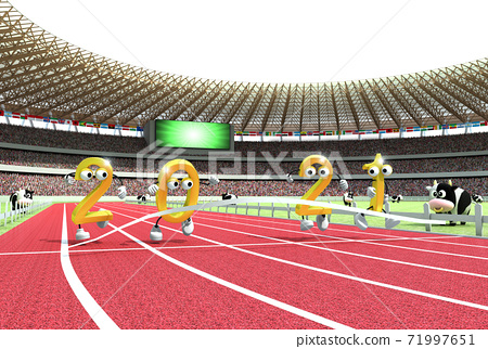 2021 년 (令和 3 년) 올림픽 개최 연도 것으로 육상 경기장을 모티브로 한 연하장 소재 71997651