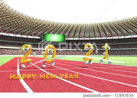2021 년 (令和 3 년) 올림픽 개최 연도 것으로 육상 경기장을 모티브로 한 연하장 소재 71997659