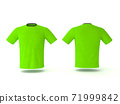 Green T-shirt template, isolated on background. Men's realistic T-shirt mockup 3d render 71999842