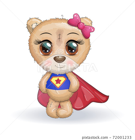 Cute little bear with big eyes in a cloak by a super hero, greeting card illustration 72001233