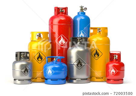 Different types of gas bottles isolated on white background. 72003580