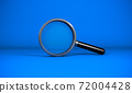 3D rendering, Close up realistic Magnifying glass, blank empty space for your copy or design, search icon or symbolic concept, blue color background. 72004428