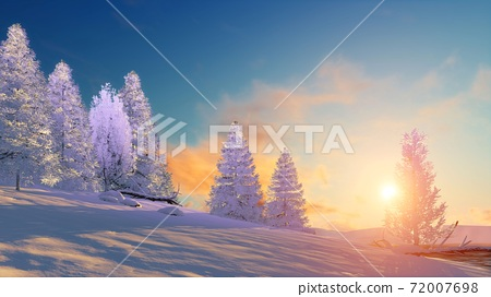 Winter landscape with snowy firs at sunset 3D 72007698