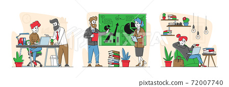 Office Scenes with Business People Characters. Colleagues Discuss Project in Office, Trainer Presenting Data Statistics 72007740