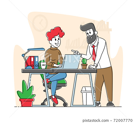Office Scene Business People Characters Discuss Project in Office. Company Teamwork Collaboration. Workflow Process 72007770