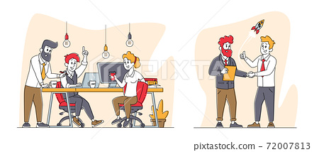 Business Characters Communicate at Board Meeting Discuss Idea in Office. Team Project Development Teamwork Process 72007813
