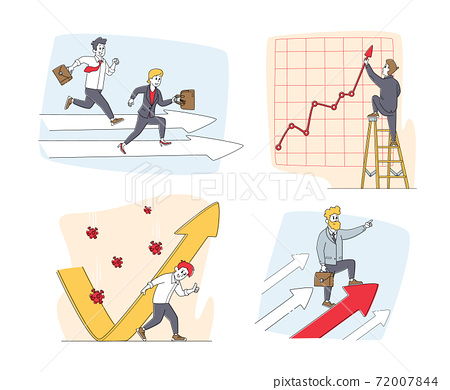 Set of Businesspeople Characters and Growing Arrows. Man and Woman Race Competition, Protecting of Covid Cells Attack 72007844