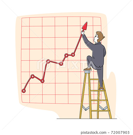 Businessman Character Stand on Ladder Directing Huge Growing Arrow Up. Business Chart Growth Curve on Coordinate System 72007903