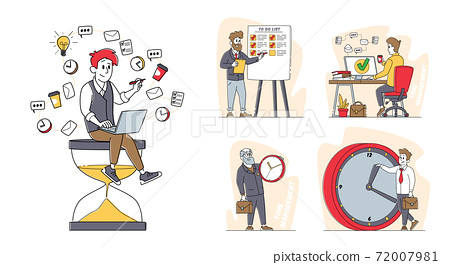 Set of Business Characters Time Management, People with Huge Alarm and Hour Clock, Business Working Process Organization 72007981