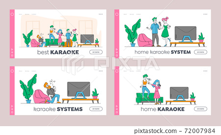 Young People Dancing and Singing Karaoke at Home Landing Page Template Set. Friends Company Characters Sing Song 72007984