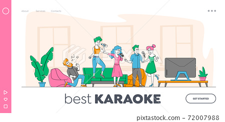 Young People Dancing and Singing Karaoke at Home Landing Page Template. Friends Company Characters Sing with Microphones 72007988