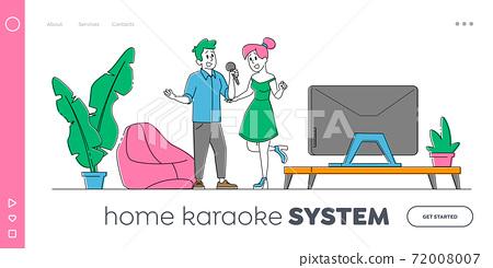 Couple Characters Singing Karaoke Landing Page Template. People with Microphones in Living Room with Tv Set, Sparetime 72008007