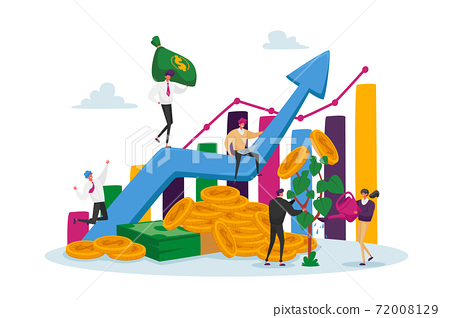 Income Growth Concept. Businesspeople Characters Teamwork Cooperation. Team of Businesspeople Climbing Growing Chart 72008129