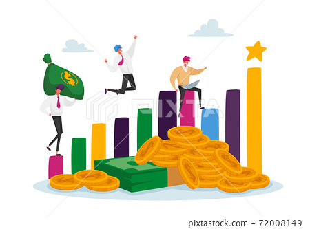 Profitable Investments, Company Success Concept. Joyful Business Men Characters at Huge Growing Column Graph with Money 72008149