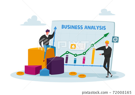 Tiny Business Characters Stand at Huge Analytics Graph with Growing Arrow and Financial Statistics, Analysing Big Data 72008165