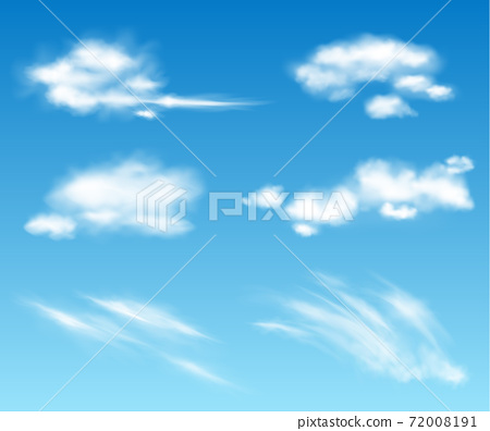 Realistic vector transparent clouds collection. Cloudy fluffy sky illustration. Storm, rain cloud effects 72008191
