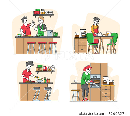 Set of Male and Female Characters Cooking. Senior Woman Kneading Dough, Couple Prepare Dinner on Kitchen at Home 72008274