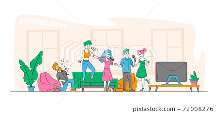 Young People Dancing, Singing Karaoke at Home Concept. Male and Female Friends Company Characters Sing with Microphones 72008276