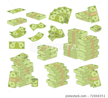 Set of Money Isolated on White Background. Packing and Piles of Dollar Banknotes, Green Paper Bills Stacks and Fans 72008351