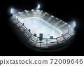 Hockey stadium isolated. Open hockey stadium in the black bsckground. Full spectator stadium. Hockey fans. Lighting devices in action.Stadium top view.3d rendering 72009646