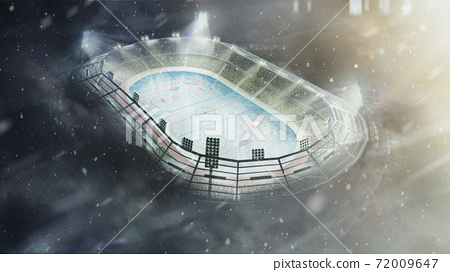Hockey arena. Open hockey stadium in winter. Snowfall in the evening. Full spectator stadium. Hockey fans.Stadium top view.3d rendering 72009647