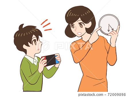 아이의 게임 시간을 지정하는 엄마의 일러스트 72009898