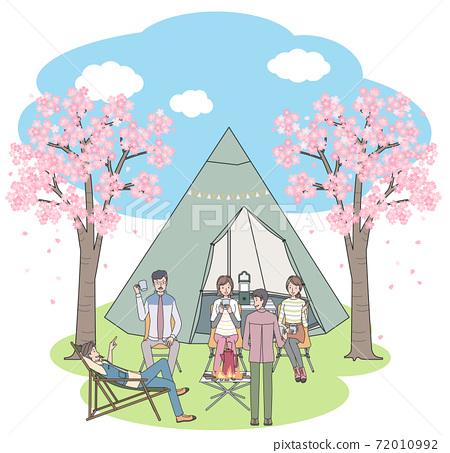 春季露營的男女 72010992