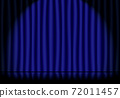 Blue stage curtains in the spotlight and reflective stage floors 72011457