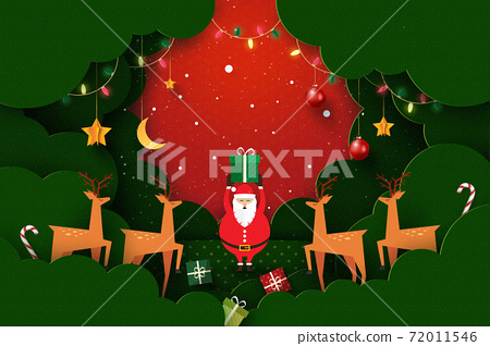 Merry Christmas and Happy New Year.Winter season landscape.Decorated with santa claus,deers,lights and stars. 72011546
