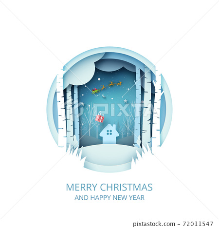 Merry Christmas and Happy New Year.Winter season landscape with Santa Claus in sleigh. 72011547